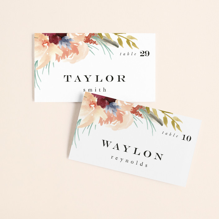 """""""rustic florals"""" - Wedding Place Cards in Garden by Kate Ahn."""
