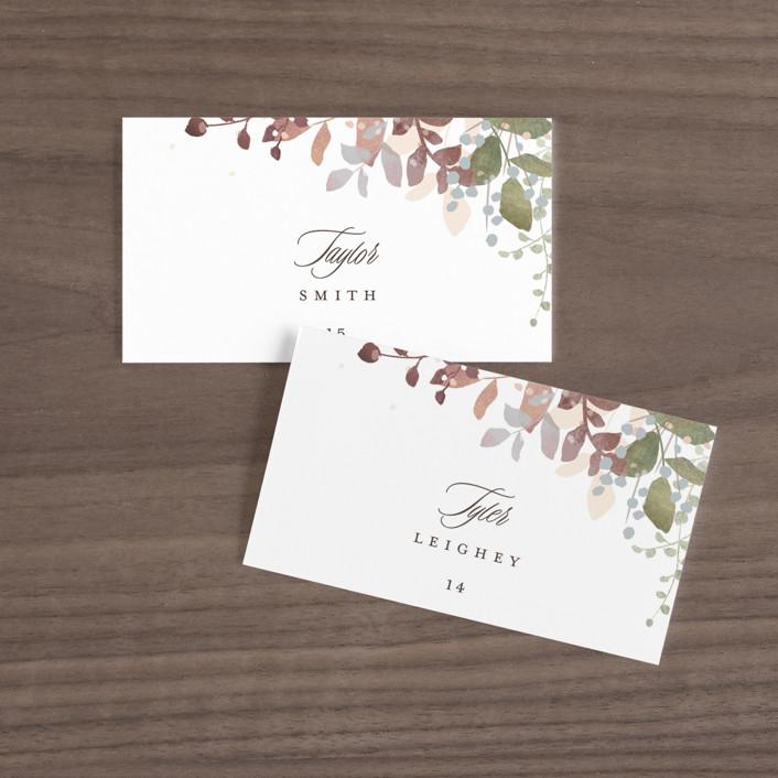 """""""Wesleyan Hill"""" - Wedding Place Cards in Wildflower by Jennifer Wick."""