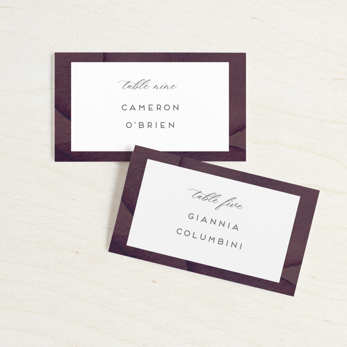 """Petalis"" - Wedding Place Cards in Velvet by Christie Garcia."