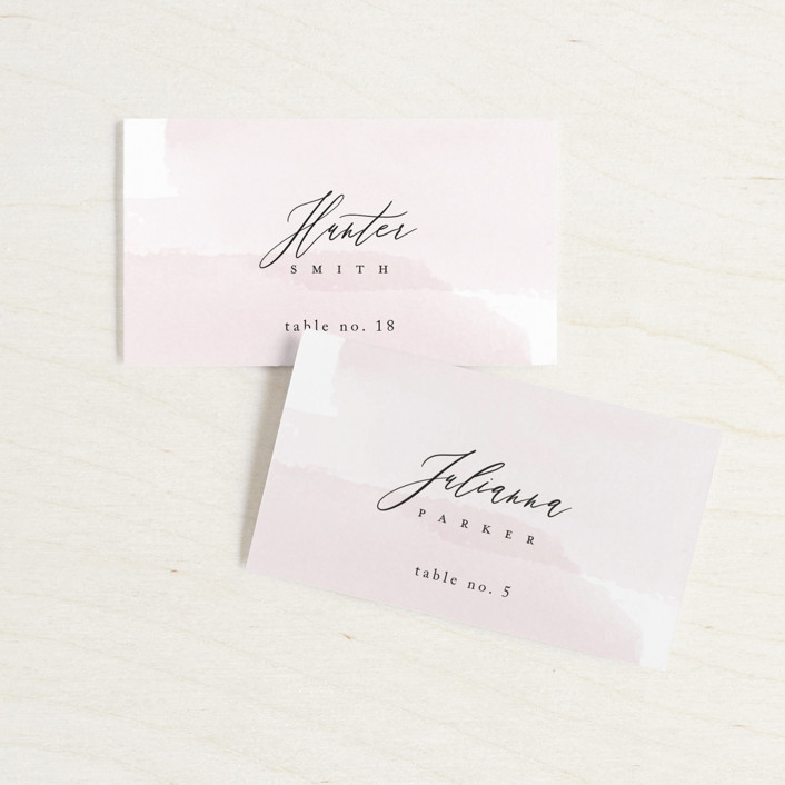 """""""Painterly"""" - Wedding Place Cards in Blush by Kelly Schmidt."""
