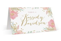 This is a colorful wedding place card by Kristen Smith called Floral Vignette with standard printing on signature in placecard.