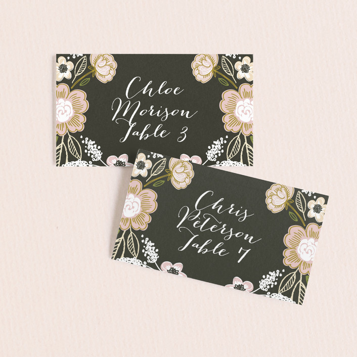 """Botanical Wreath"" - Floral & Botanical Wedding Place Cards in Charcoal by Alethea and Ruth."