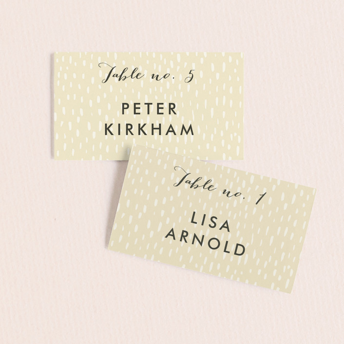 """""""Botanical Wreath"""" - Simple Wedding Place Cards in Butter Cream by Alethea and Ruth."""