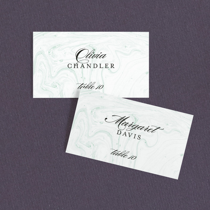 Modern Marble Wedding Place Cards In Jade By Kelli Hall