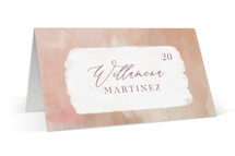 This is a pink wedding place card by Hooray Creative called Magic Hour with standard printing on signature in placecard.