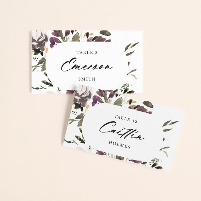 """iliya"" - Wedding Place Cards in Bordeaux by Itsy Belle Studio."
