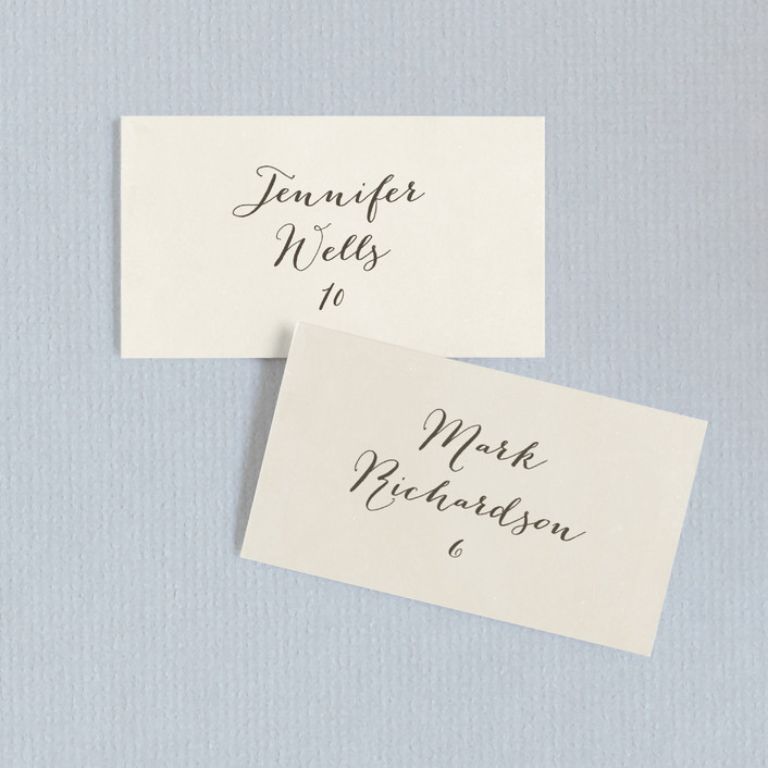 """""""Moment in Time"""" - Vintage Wedding Place Cards in Linen by The Social Type."""