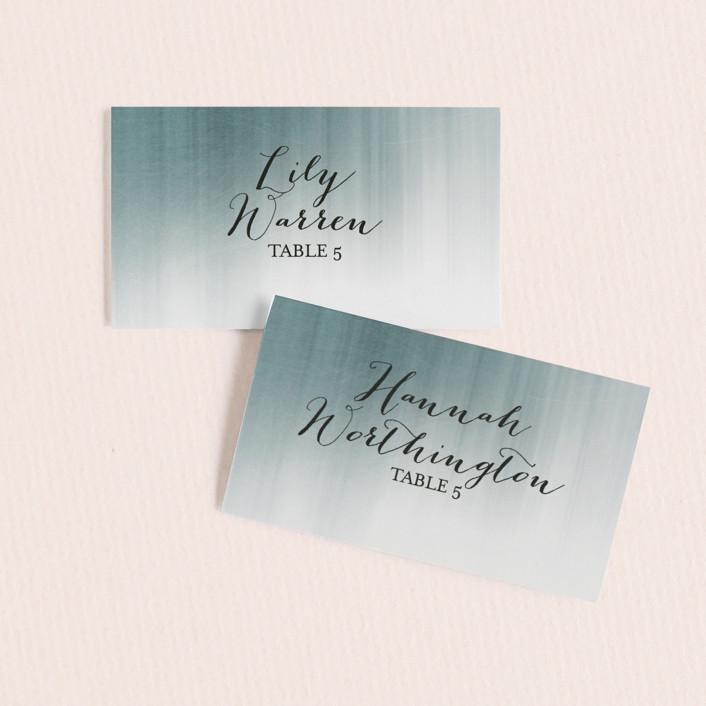 """Modern Beach"" - Modern Wedding Place Cards in Dark Blue by Sarah Lenger."