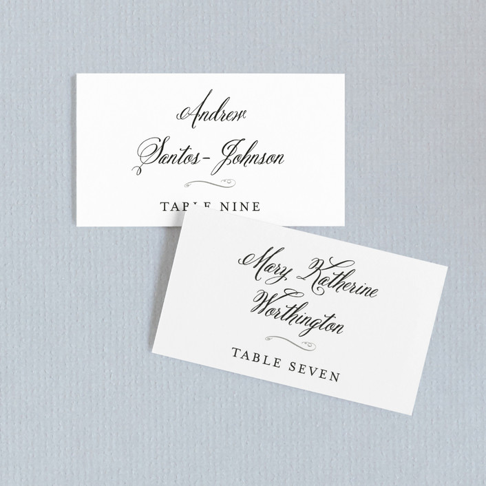 """Traditional Royalty"" - Wedding Place Cards in Midnight by two thirteen studio."
