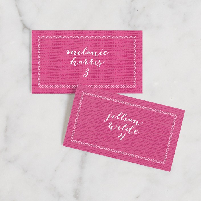 """""""Wanderlust"""" - Bohemian, Bohemian Wedding Place Cards in Magenta by cambria."""