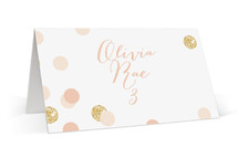 This is a white wedding place card by kelli hall called Rose Colored Glass with standard printing on signature in placecard.