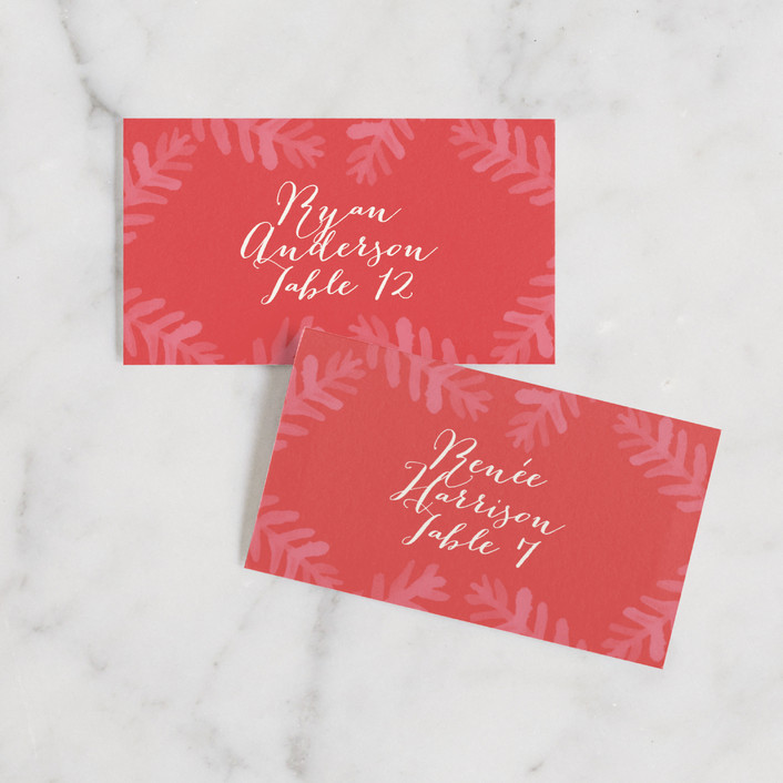 """Krafted Winter"" - Wedding Place Cards in Crimson by Jennifer Wick."
