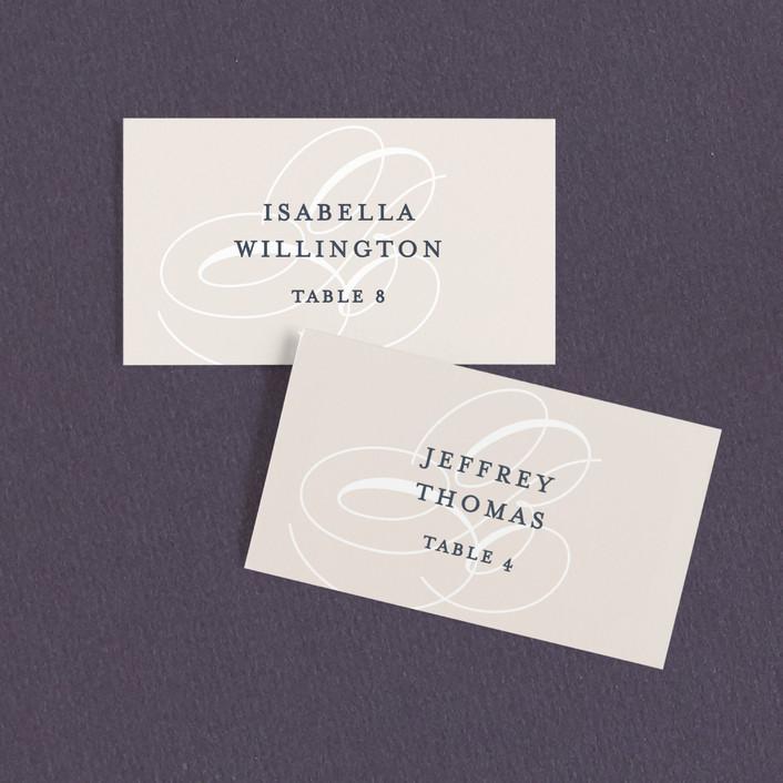 """Fresh Monogram"" - Modern Wedding Place Cards in Latte by Lauren Chism."