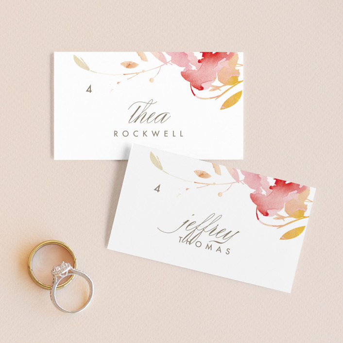 """""""Stately Florals"""" - Wedding Place Cards in Poppy by Lori Wemple."""