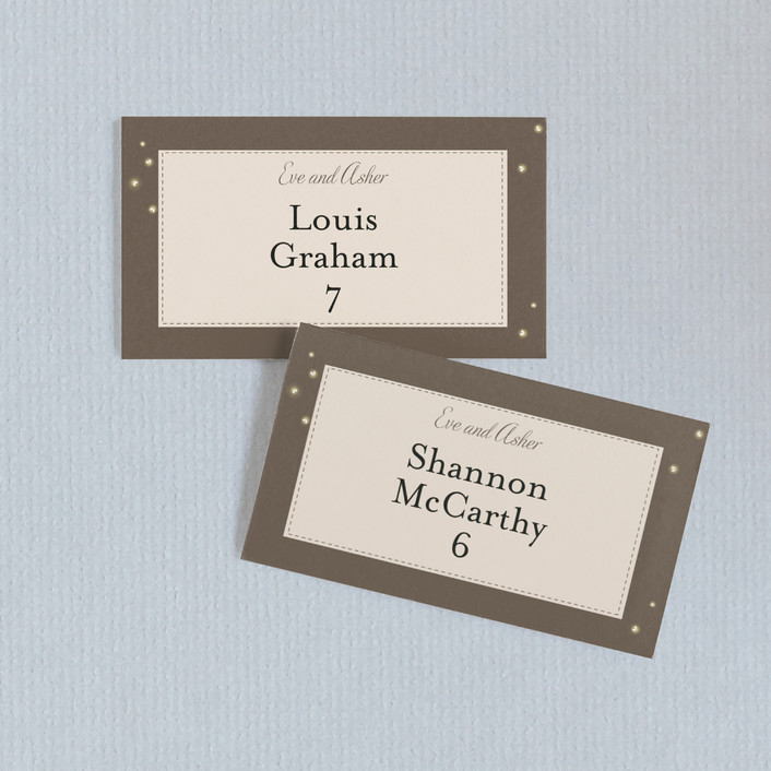 """""""Fireflies"""" - Whimsical & Funny, Rustic Wedding Place Cards in Zuni Brown by Paige Rothhaar."""