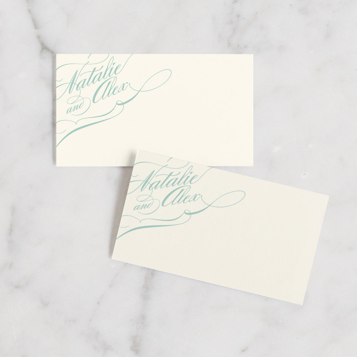 """Winter Flourish"" - Formal, Classical Wedding Place Cards in Sky Blue by annie clark."