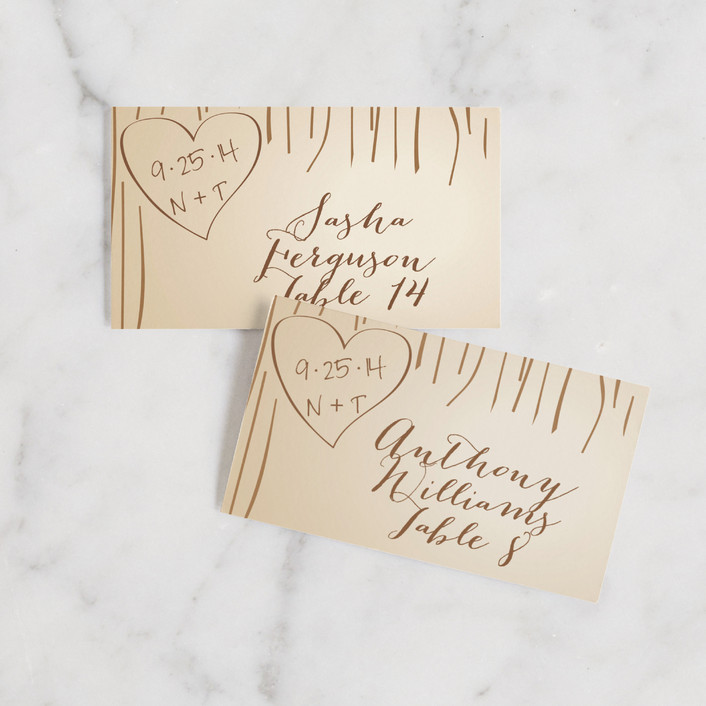 """Fall Carving"" - Rustic Wedding Place Cards in Woodgrain by Amanda Joy."