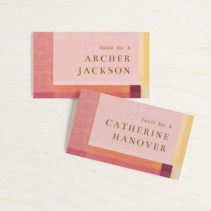 """Edgewater"" - Modern Wedding Place Cards in Sunset by Griffinbell Paper Co.."