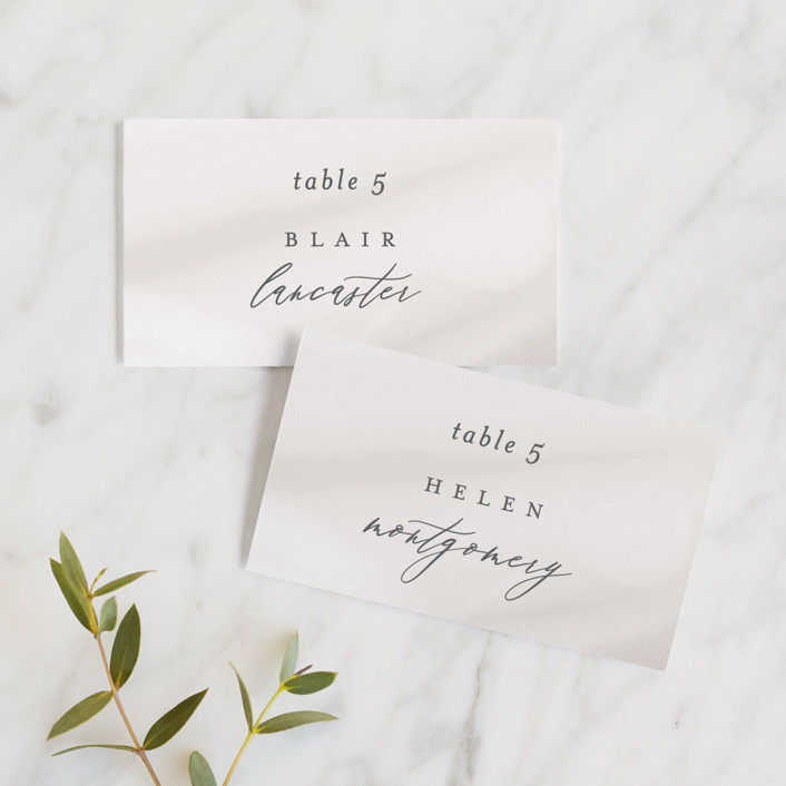 """Overjoyed"" - Wedding Place Cards in Taupe by Ana Sharpe."