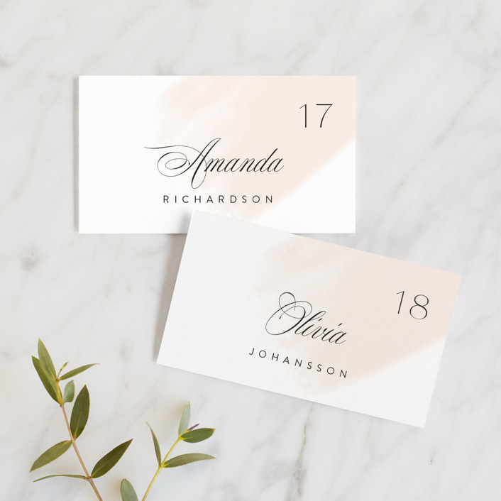 """Lithe"" - Wedding Place Cards in Blush by Kristie Kern."