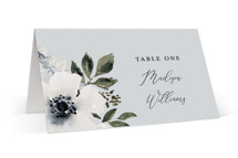 This is a blue wedding place card by Chris Griffith called Nantucket Romance with standard printing on signature in placecard.