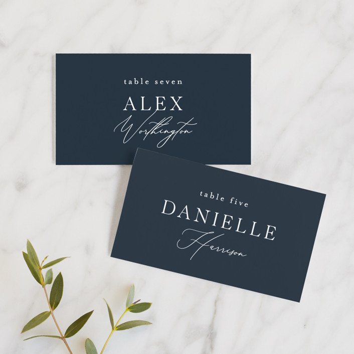 """Waltz"" - Wedding Place Cards in Nightfall by Jula Paper Co.."