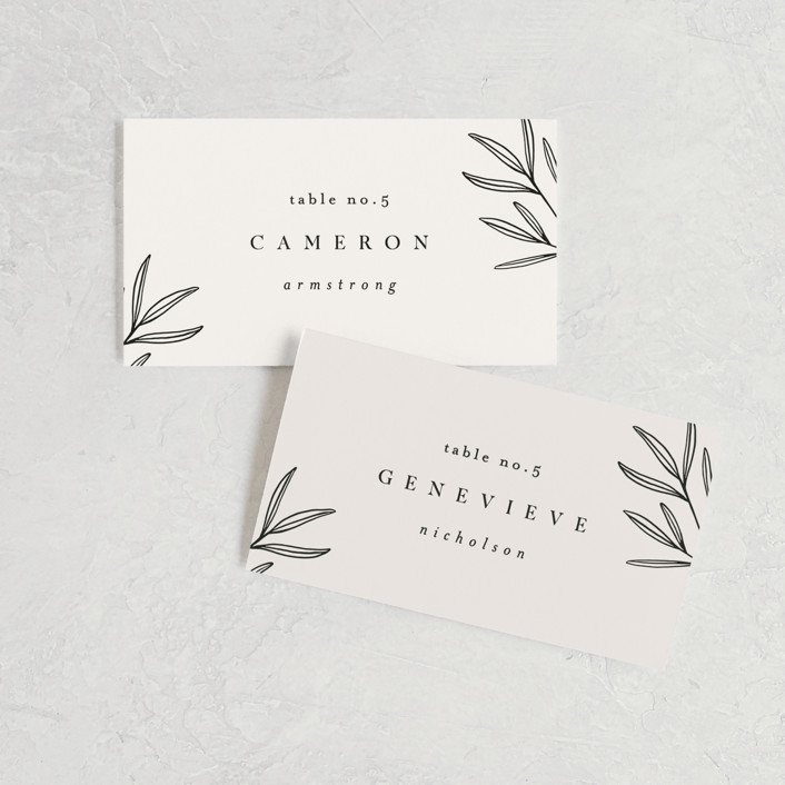 """""""Italia"""" - Wedding Place Cards in Taupe by Kelly Schmidt."""