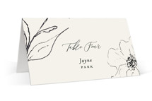 This is a white wedding place card by Design Lotus called Elysium with standard printing on signature in placecard.
