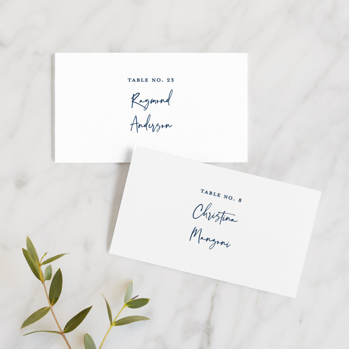 """""""Semi Formal"""" - Wedding Place Cards in Navy by Paper Dahlia."""