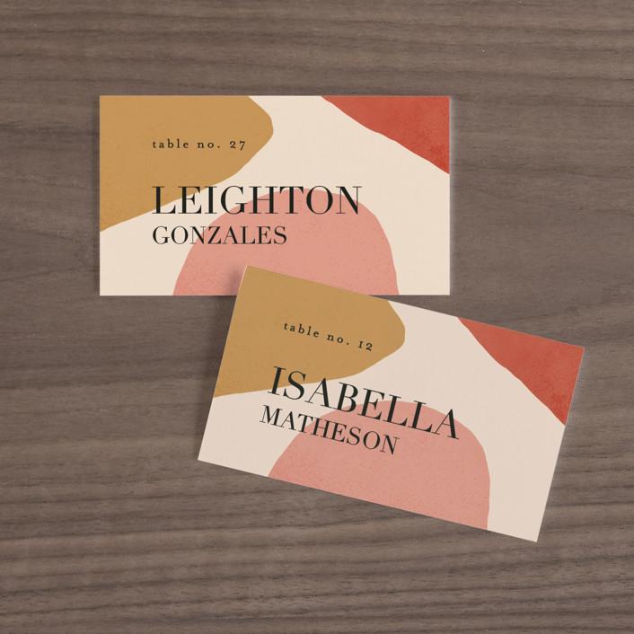 """Galeria"" - Modern Wedding Place Cards in Autumn Desert by Kelly Schmidt."
