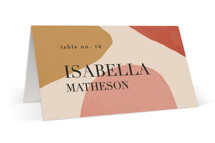 This is a red wedding place card by Kelly Schmidt called Galeria with standard printing on signature in placecard.