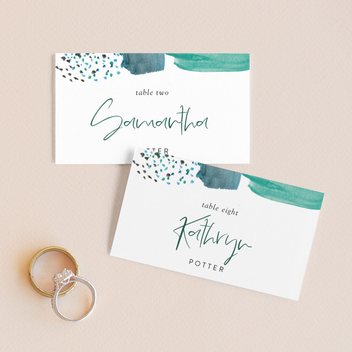 """""""Feathery Painted"""" - Modern Wedding Place Cards in Teal by Erika Firm."""