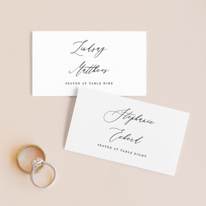 """Delicate"" - Wedding Place Cards in Obsidian by Jennifer Postorino."