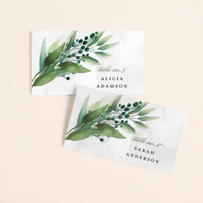 """""""Mixed Greenery"""" - Wedding Place Cards in Emerald by Susan Moyal."""