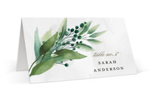 This is a green wedding place card by Susan Moyal called Mixed Greenery with standard printing on signature in placecard.