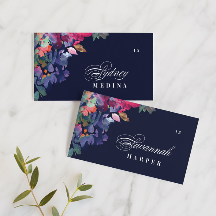 """Georgia"" - Wedding Place Cards in Navy by Lori Wemple."