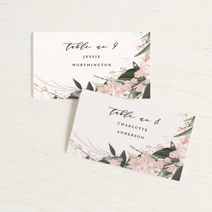 """""""Ivory Ring"""" - Wedding Place Cards in Blush by Susan Moyal."""