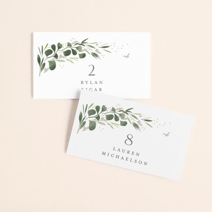 """Garden Path"" - Wedding Place Cards in Ivory by Kristie Kern."