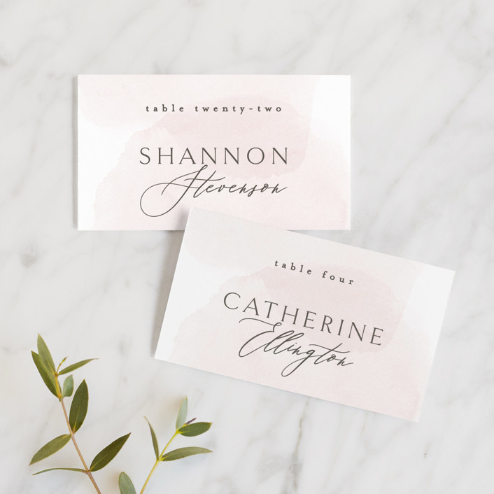 """Softly Layered"" - Wedding Place Cards in Blush by Everett Paper Goods."