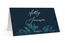 This is a blue wedding place card by GeekInk Design called Moonlit Garden with standard printing on signature in placecard.