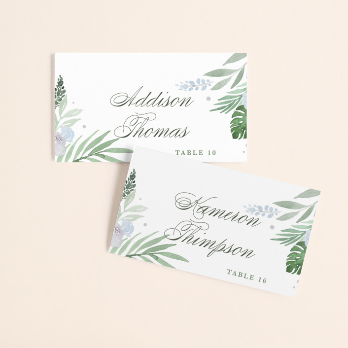 """Botanical Seal"" - Wedding Place Cards in Pastel by Kristen Smith."