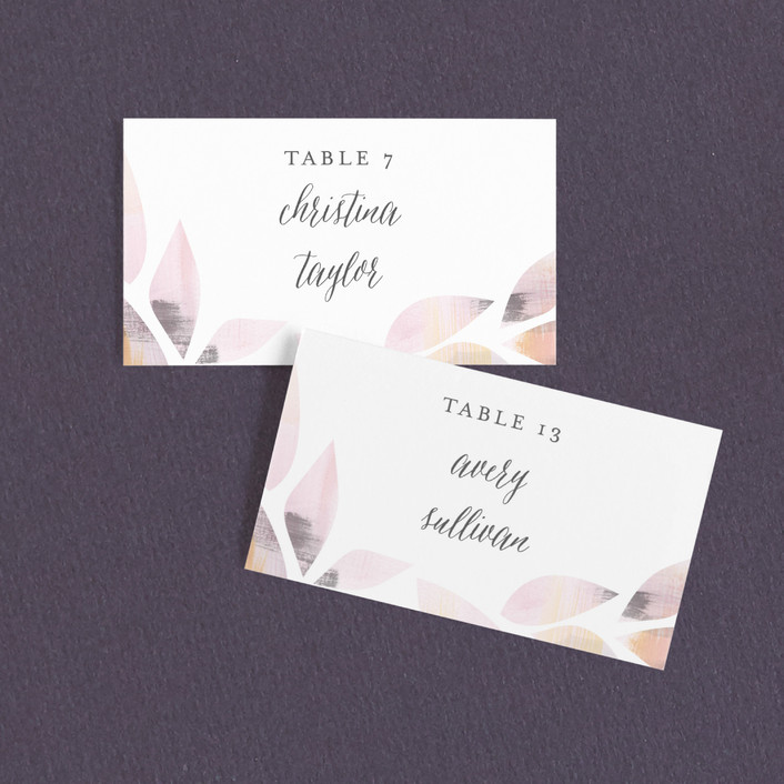 """Cottage Leaf"" - Bohemian Wedding Place Cards in Petal by Melanie Severin."
