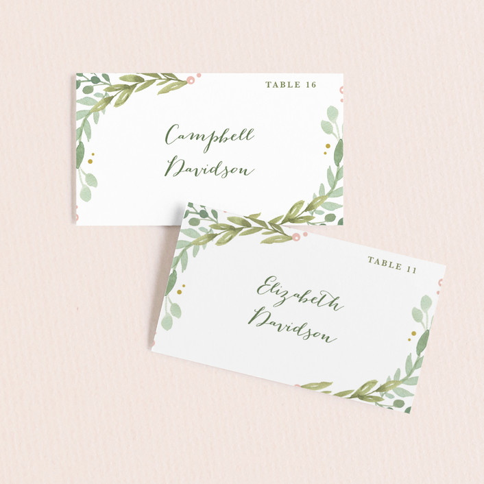 Garden Glamour Wedding Place Cards by Kristen Smith Minted