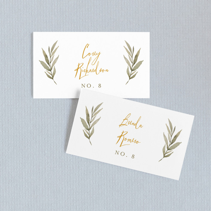 """""""Summer Love"""" - Rustic Wedding Place Cards in Sunflower by Wildfield Paper Co.."""