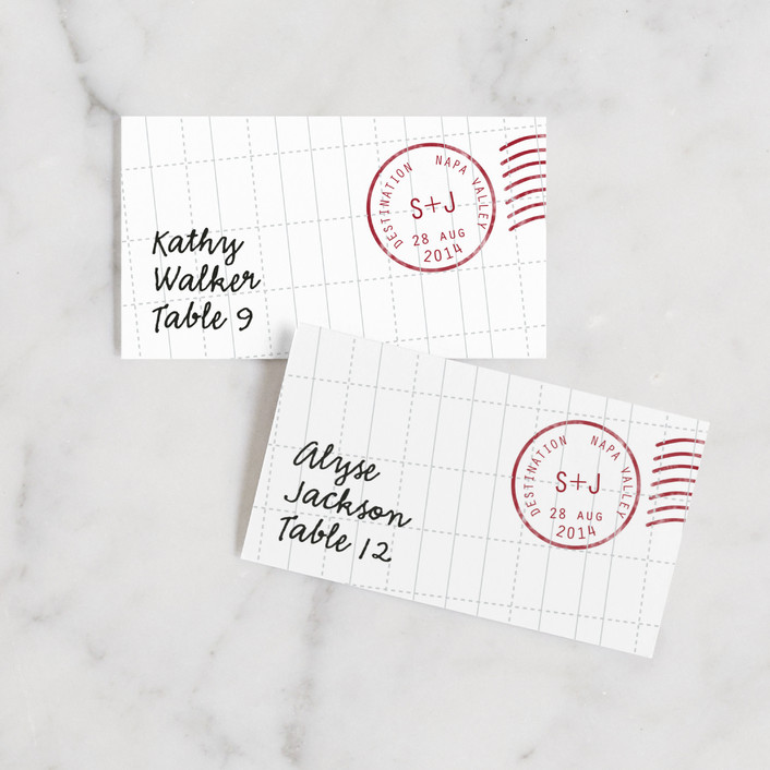"""""""A Faraway Destination"""" - Wedding Place Cards in Deep Red by bumble ink."""