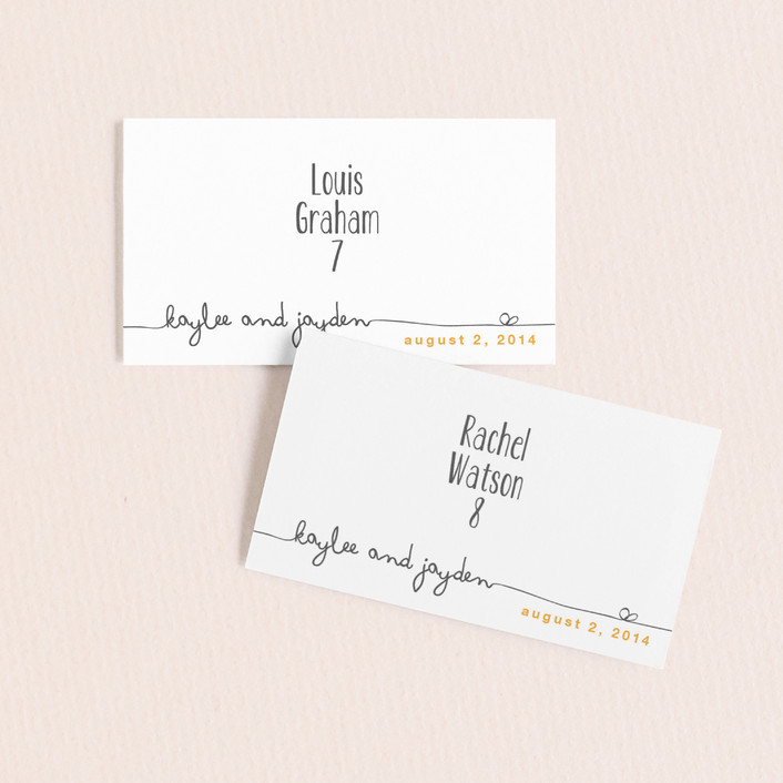 """""""The Happy Couple"""" - Whimsical & Funny Wedding Place Cards in Dark Yellow by R studio."""