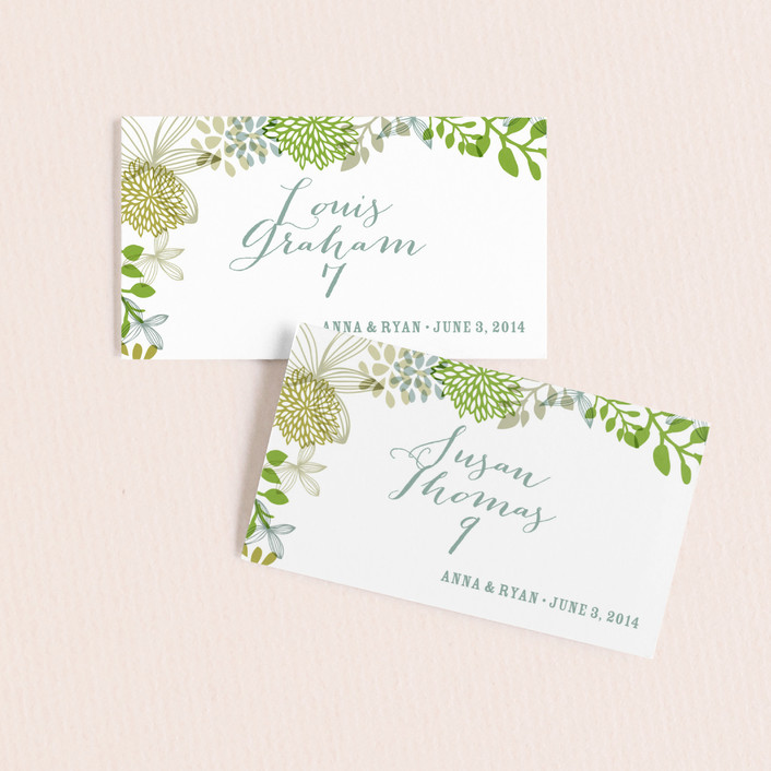 """Fling"" - Wedding Place Cards in Clover by Andrea Mentzer."