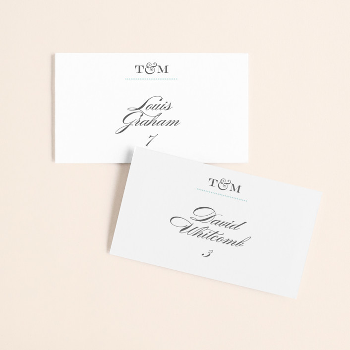 """""""Charming Go Lightly"""" - Monogram, Elegant Wedding Place Cards in Sky Blue by danielleb."""