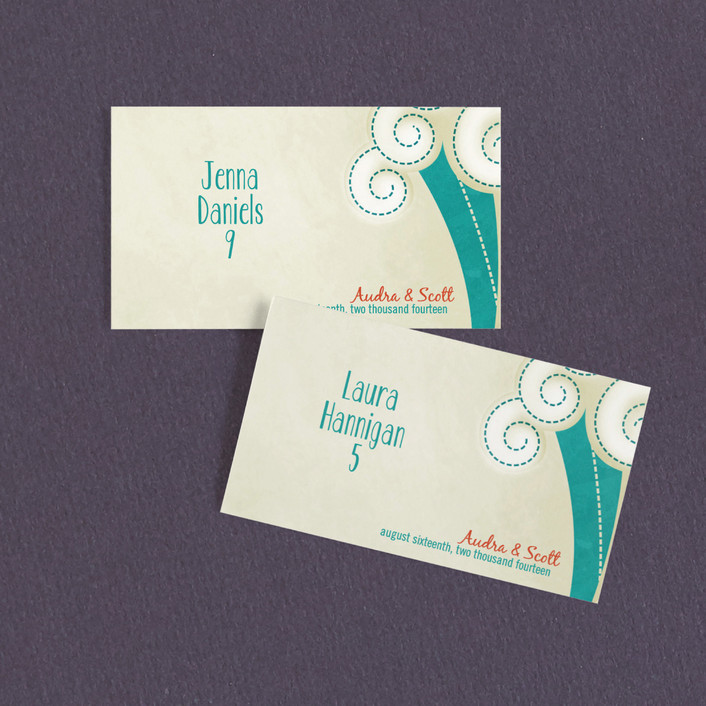 """BLOCK PRINT WAVES"" - Beach Wedding Place Cards in Green Teal by bumble ink."