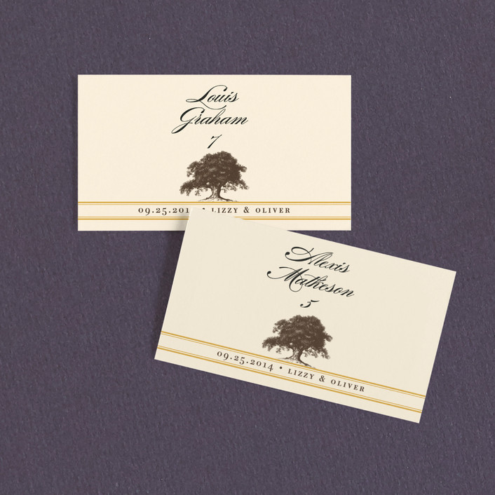 """Oak Tree"" - Wedding Place Cards in Butterscotch by annie clark."